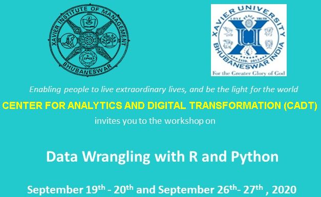 "Workshop on ""Data Wrangling with R and Python module"" by CADT from Sep 19th- 20 & Sep 26th- 27th, 2020"